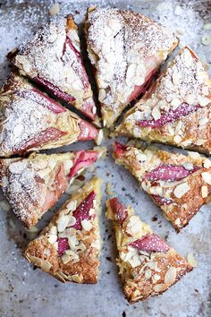 rhubarb and almond cake.Add lots more rhubarb next time ,put quite close together. Baking Recipes, Cake Recipes, Dessert Recipes, Picnic Recipes, Breakfast Recipes, Think Food, Love Food, Delicious Desserts, Yummy Food