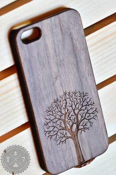 Falls tree A037 Laser engraved Wood case for iPhone 5 by StudioT7