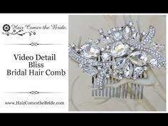 "VIDEO- Elegant Vintage Inspired Rhinestone Bridal Hair Comb ""Bliss"" by Hair Comes the Bride ~ #bridalhairaccessories  #bridalcomb  #bridalhaircomb"