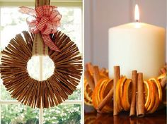 cinnamon wreath and candle decoration