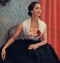 1952 .. pale blue cowl neck top with roses and navy full ball gown skirt .. vintage glamour with a touch of fun