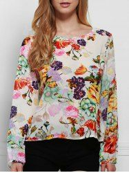 Chic Round Neck Long Sleeve Floral Print Cut Out Women's Blouse