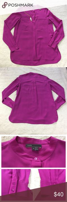 """Vince. 100% Silk Pink Tunic Blouse Vince Size 2 Pink 100% Silk Button Down Blouse. Excellent Condition - minor chipping on the sleeve buttons (pictured above) Across the Chest: 17.5"""" Length: 27"""" Vince Tops Blouses"""