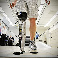 """31-year-old Zac Vawter lost his right leg after a motorcycle accident. Last fall, he used a mind-controlled robotic leg to climb 103 floors of Chicago's Willis Tower. Read about these """"smart limbs"""" and how they work: http://www.everydayhealth.com/healthy-living/0926/new-robotic-leg-gets-closer-to-the-real-thing-study-says.aspx"""