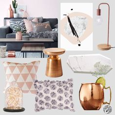Today we're all about taking bold metallic tones of copper and softening them with a peachy blush pink. Get the look with this luxurious colour combo. for a refreshing Spring/Summer makeover. Featured here: Glamour Art Print, Minima Lamp in Rose gold, Geometric Space Pillow in Pink, Chess Piece Side table in Bronze, Geometric Marble Board, Copper Fairylights by Midnight Sparks, The Flora Pillow and Moscow Copper Cup only @ Cluster-Cluster.com