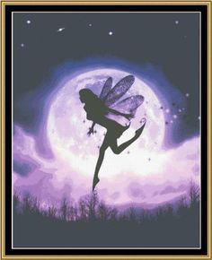 Silhouette Art, Mermaid Art, Dragon Art, Goddess Art, Unicorn Art by Julie Fain Print Image, Fairy Silhouette, Moon Fairy, Fairy Pictures, Goddess Art, Beautiful Fairies, 5d Diamond Painting, All Things Purple, Mermaid Art