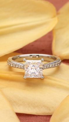 This stunning trellis setting features a pavé diamond accented band that tapers inward for an elegant appearance.