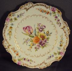 Fine Antique Hand Painted Dresden Porcelain Plate Rococo Revival Floral | eBay