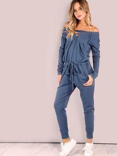 28675b01cb8 Slouchy Lace Up Cotton Jumpsuit VINTAGE BLUE