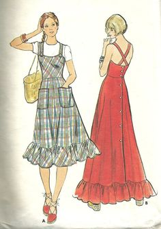 Items similar to Dress Pattern Butterick 4200 Back Button Ruffled Hem Fit and Flare Midi Maxi Sundress Jumper Womens Vintage Sewing Pattern Bust 30 on Etsy Vintage Dress Patterns, Clothing Patterns, Vintage Dresses, Vintage Outfits, Sun Dress Patterns, 70s Fashion, Fashion Dresses, Vintage Fashion, 1970 Style