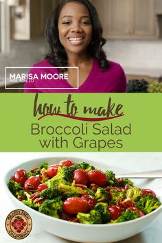 Here's a video showing how to make the best broccoli salad with grapes from California, a balsamic vinegar dressing, and no mayo!  Easy and healthy, you will love the combination of roasted broccoli and sweet grapes in this vegetarian recipe. Grape Recipes, Salad Recipes, Dessert Recipes, Recipe Videos, Food Videos, Balsamic Vinegar Dressing, How To Make Broccoli, California Food, Grape Salad