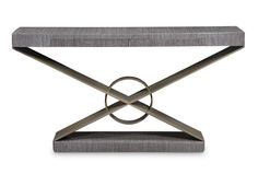 Grey Oak Console table with metal base at Bolier by Decca Furniture