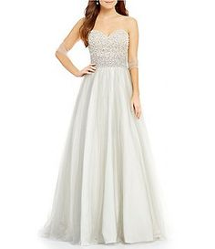 Coya Collection Faux Pearl Beaded Bodice Ball Gown
