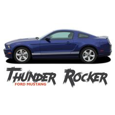 Lower Rocker Panel Stripes Factory Style Decal Graphics 2005-2014 Mustang Text