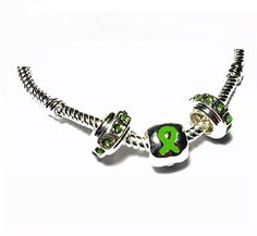 brain beads sterling silver   Pandora Style Traumatic Brain Injury Awareness Silver Charm Necklace