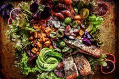 Crispy Salmon, Blood Orange, Sweet Potato and Avocado Salad   Heather Christo