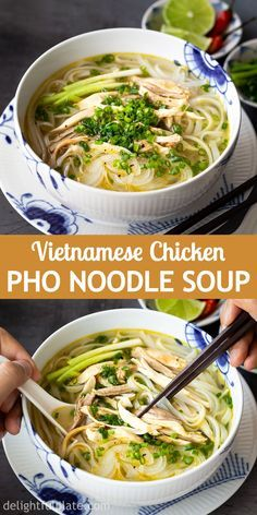 Pho Ga (Vietnamese Chicken Noodle Soup) is one of the classic dishes of Northern Vietnamese cuisine. It is light yet flavorful, simple yet sophisticated. You can cook it on the stovetop or in a pressure cooker. Pho Ga Recipe, Easy Chicken Pho Recipe, Pho Recipe Easy, Vietnamese Chicken Noodle Soup Recipe, Best Pho Recipe, Chinese Chicken Noodle Soup, Asian Chicken Noodle Soup, Vietnamese Noodle, Pho Noodle Soup