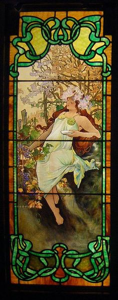 "The Four Seasons: Fall, stained glass by Alphonse Mucha. Mucha visited Chicago between 1906 and 1909, and may have executed this version of ""The Four Seasons"" while there in 1906, or they may have been done by one of his students 