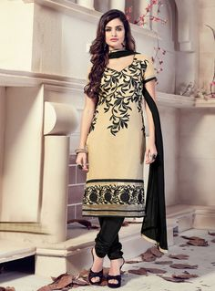Beige Chanderi Churidar Salwar Suit 85579