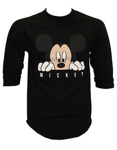 NEFF Men's Disney X Look Out Mickey Mouse Raglan 3/4 Sleeve T-Shirt, Black/Black - NEFF x Disney Collaboration - Disney Style Fashion