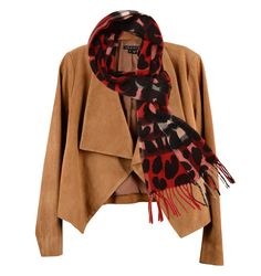 Theory suede jacket, $955, Saks Fifth Avenue. Burberry cashmere scarf, $650, Saks Fifth Avenue.