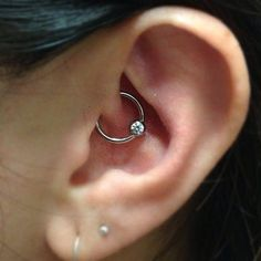 Rook Piercing Ideas with Crystal Captive Bead Ring