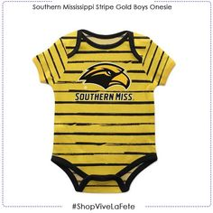 Let them enjoy on game day in this Southern Mississippi Stripe Gold and Black Boys Onesie SS An officially Licensed product from Vive La Fete Collegiate Round neckline. Lapped shoulders Leg opening with snap crotch closure Southern Miss Golden Eagles, Boy Onesie, Black Boys, Mississippi, Bodysuit, Neckline, Closure, Game, Sleeve