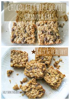 Chocolate Chip Cookie Granola Bars. Taste like oatmeal chocolate chip cookies, but they are much healthier!