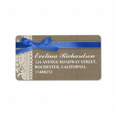 burlap design white lace and blue ribbon address labels for weddings