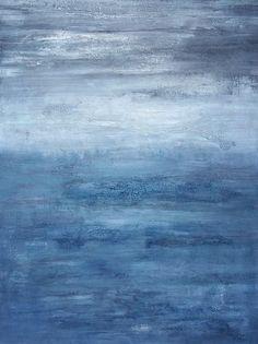 Abstract Ocean Painting 30 x 40 Large Indigo Minimalist