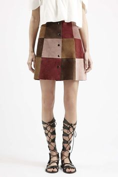 Photo 3 of Suede Patchwork A-Line Skirt