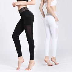 cf4b5388748a High Waist Sport Leggings With Side Pocket White Mesh Yoga Pants Solid  Training Pant Women Black