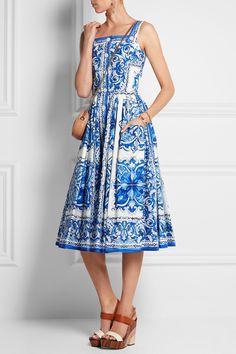 Dolce & Gabbana|Robe midi en popeline de coton imprimée |NET-A-PORTER.COM