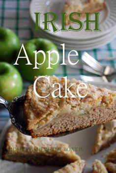 Irish Apple Cake for St. Patrick's Day or enjoy with your morning coffee or afternoon cuppa! http://homeiswheretheboatis.net/ #StPatricksDay #cake #applerecipe