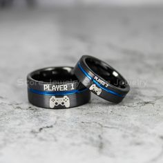 FREE SHIPPING 2 Piece Couple Set 10mm & 6mm Black Tungsten Bands with Flat Edge Blue Groove Player 1 Player 2 Laser Engraved Tungsten Rings by ScoreCustomJewelry on Etsy https://www.etsy.com/listing/595815021/free-shipping-2-piece-couple-set-10mm