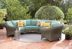 Martha Stewart Living Lake Adela Patio Right Arm Sectional Chair with Surf Cushions gives an eye-catching style for your patio and sunroom. Outdoor Dining Set, Outdoor Lounge, Outdoor Spaces, Outdoor Living, Outdoor Decor, Rattan Furniture Set, Outdoor Garden Furniture, Curved Sectional, Outdoor Sectional