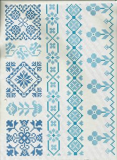 Crochet Diagram, Filet Crochet, Cross Stitch Borders, Cross Stitch Patterns, Bordados E Cia, Blue Cross, Loom Bracelets, One Color, Pixel Art