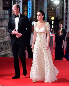 Kate Middleton, wowed in a stunning floor length white and gold gown by Alexander McQueen as she walked the red carpet at the BAFTAs alongside husband Prince William, 37 Quinceanera, Taylor Swift, Bafta Red Carpet, Alexandre Mcqueen, Gold Gown, British Academy Film Awards, Kate Middleton Style, Middleton Wedding, White Gowns
