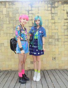 space ☥ grunge - neon socks