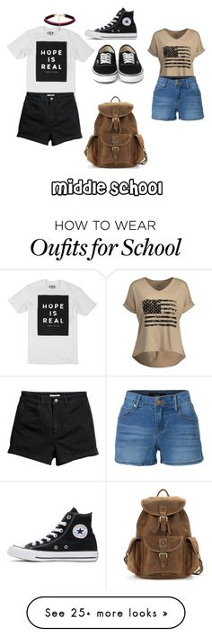"""""""Middle School"""" by alanacouch on Polyvore featuring LE3NO, Converse and WithChic"""