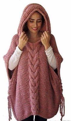 Пончо с капюшоном.Идеи для любителей вязания.