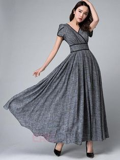 Ericdress Solid Color Patchwork Expansion V-Neck Maxi Dress Maxi Dresses