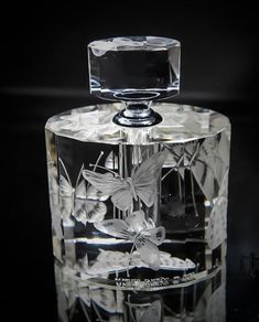 Art Deco Perfume Bottle Hand engraved Butterflies, Crystal Perfume Bottle, Hand Engraved.