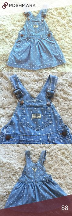 OshKosh Jean dress Cute dress with polka dots. Good condition no stains! My daughter wore it 4 times. It's runs small so I would say it fits more like an 2T Osh Kosh Dresses Casual
