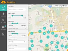 Map-view of RentHost Search UI with filters pane docked at the left and map…