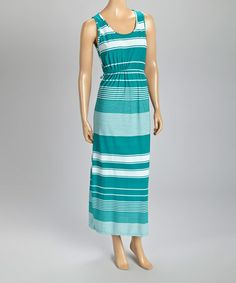 Look what I found on #zulily! Teal & White Stripe Blouson Maxi Dress #zulilyfinds