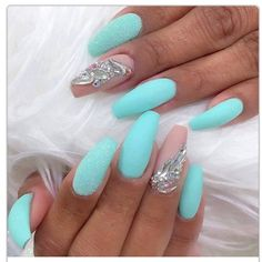 Mint green and nude matte coffin nails