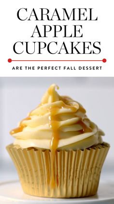 These caramel apple cupcakes are not only a breeze to bake, but they might just be more delicious than the original fall treat. Get the recipe here. #cupcakes #cupcakerecipes #desserts #falldesserts #thanksgiving #thanksgivingdesserts