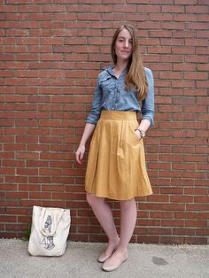 yellow skirt, denim shirt. I really like this shade of yellow more than the chrome yellow skirts