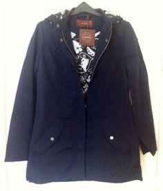 New - Womens Savoir Waterproof Blue Hooded Zip Through Mac Coat Size 8 - RRP £55